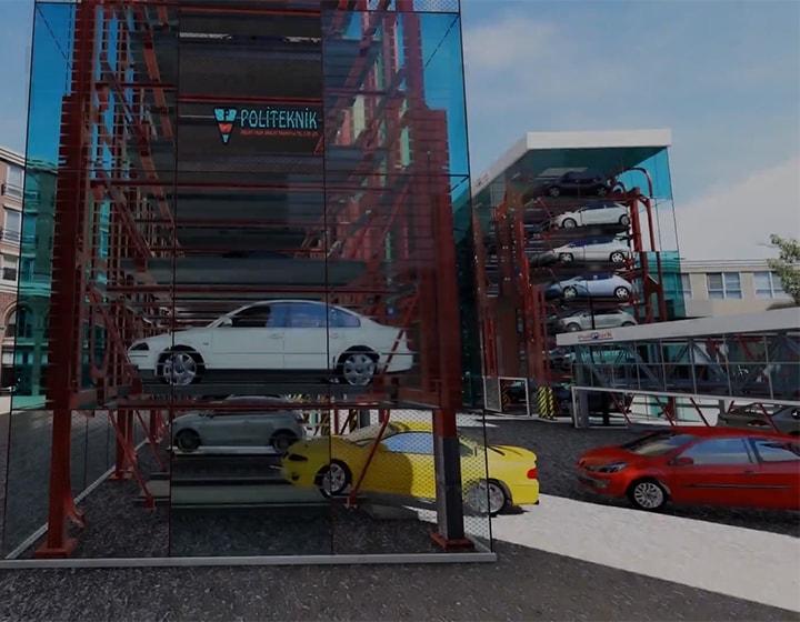 Polipark Çok Katlı Otopark - Mekanik Tasarım ve Animasyon